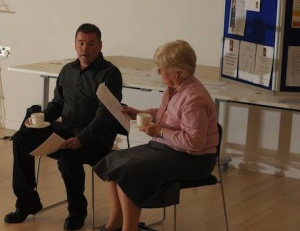Andy Kirk and Sue Pritchard perform Andy's play 'Put It On The List'